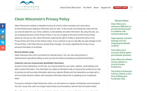 Screenshot of Privacy Page cleanwisconsin.org - Clean Wisconsin's Privacy Policy | Clean Wisconsin - captured May 18, 2017