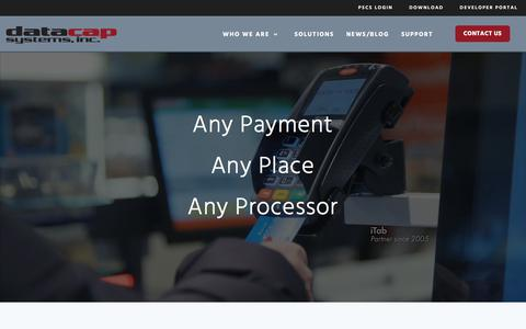Screenshot of Home Page datacapsystems.com - Home - Datacap Systems, Inc. - Any Payment, Any Place, Any Processor - captured Dec. 9, 2019