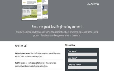 Screenshot of Signup Page averna.com - Sign-up for great Test Engineering Content - captured Dec. 16, 2016