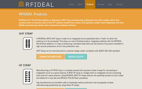 Screenshot of Products Page rfideal.com - RFIDEAL's P4™ Pick & Place platform is dedicated to RFID inlay - captured Oct. 9, 2014