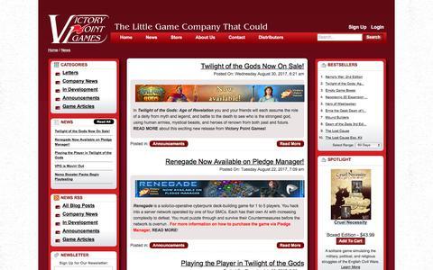 Screenshot of Press Page victorypointgames.com - News - captured Sept. 23, 2017