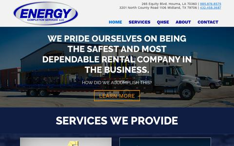 Screenshot of Home Page energycompletion.com - Enery Completion – Onshore and Offshore Wireline Support - captured Sept. 28, 2018