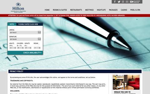 Screenshot of Privacy Page niagarafallshilton.com - Niagara Falls Restaurants, Dining - Watermark Restaurant Niagara Falls Hilton - captured June 27, 2017