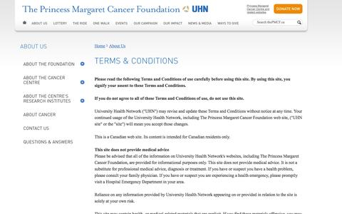 Screenshot of Terms Page thepmcf.ca - The Princess Margaret Cancer Foundation - Terms and Conditions - captured Oct. 6, 2014