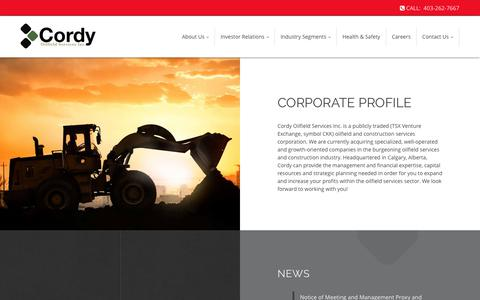 Screenshot of About Page cordy.ca - Corporate Profile | Cordy Oilfield Services Inc. - captured Aug. 30, 2017