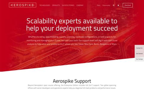 Screenshot of Services Page aerospike.com - Services & Support | Scalability experts available at AerospikeAerospike - captured Nov. 5, 2015