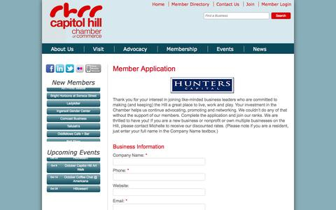 Screenshot of Signup Page caphillchamber.org - Member - Capitol Hill Chamber of Commerce - captured Oct. 1, 2014