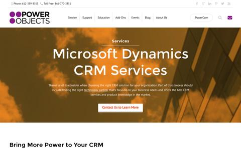 Screenshot of Services Page powerobjects.com - Microsoft Dynamics CRM Services - PowerObjects - captured Oct. 1, 2015