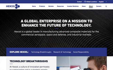 Screenshot of About Page hexcel.com - About   Hexcel - captured July 27, 2018