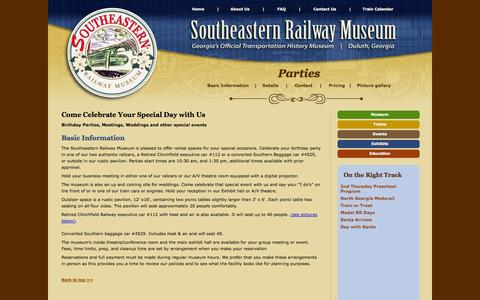 Screenshot of Pricing Page southeasternrailwaymuseum.org - Southeastern Railway Museum           Parties - captured Oct. 26, 2014
