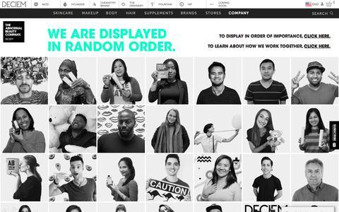 Screenshot of Team Page deciem.com - DECIEM | People - captured July 15, 2019