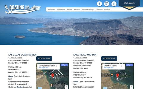 Screenshot of Contact Page Locations Page boatinglakemead.com - Location Page «  Boating Lake Mead - captured July 3, 2018