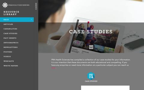 Screenshot of Case Studies Page prahs.com - Case Studies - PRA Health Sciences - captured Oct. 8, 2016