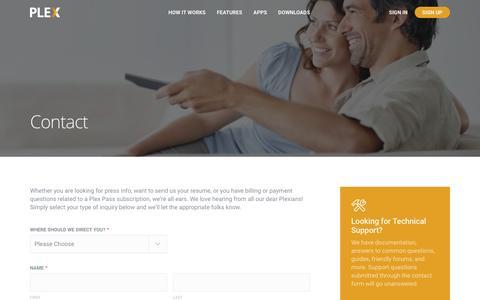 Screenshot of Contact Page plex.tv - Contact Plex | Plex Media Server - captured June 25, 2016