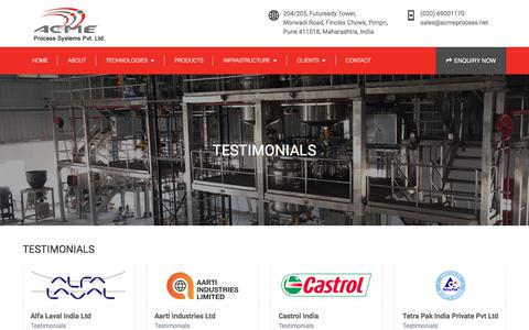 Screenshot of Testimonials Page acmeprocess.net - Acme Process Systems Pvt. Ltd. - captured Oct. 7, 2017