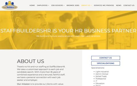 Screenshot of About Page staffbuildershr.com - Temporary Employment Tampa, Orlando, Lakeland - captured Nov. 11, 2017