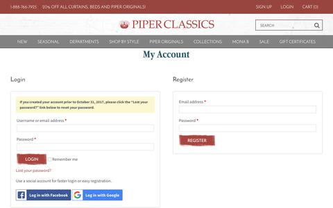 Screenshot of Signup Page Login Page piperclassics.com - My Account - Piper Classics - captured July 18, 2018