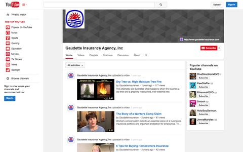 Screenshot of YouTube Page youtube.com - Gaudette Insurance Agency, Inc  - YouTube - captured Oct. 22, 2014