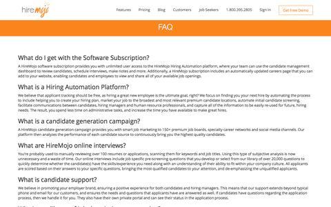 Screenshot of FAQ Page hiremojo.com - Hiring Software FAQ | HireMojo - captured July 15, 2016