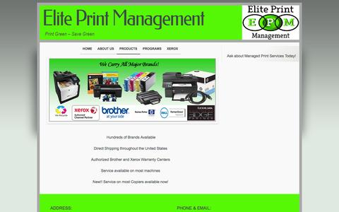 Screenshot of Products Page eliteprintmanagement.net - Elite Print Management - Rockwall, Rowlett, Texas - captured Oct. 2, 2014