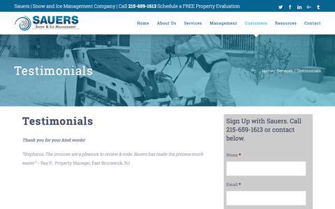 Screenshot of Testimonials Page sauersinc.com - Testimonials - Sauers Snow & Ice Management - captured Oct. 6, 2017