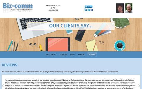 Screenshot of Testimonials Page biz-comm.com - Testimonials from satisfied clients of Biz-comm, Fairview NC - captured Nov. 22, 2016