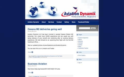 Screenshot of Press Page aviationdynamix.com - Aviation Dynamix   » News - captured Oct. 4, 2014