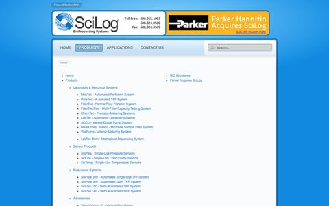 Screenshot of Site Map Page scilog.com - SciLog BioProcessing Systems - captured Oct. 4, 2014