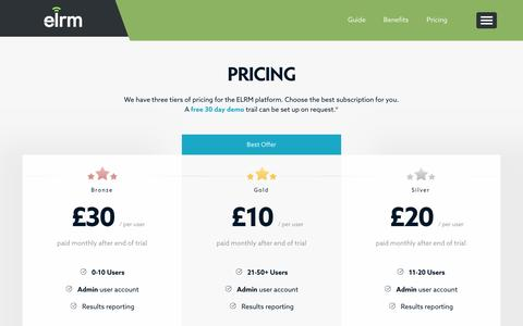 Screenshot of Pricing Page elrm.co.uk - ELRM   Pricing - captured Oct. 15, 2016