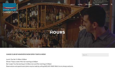 Screenshot of Hours Page canoeclubhanover.com - Hours – Canoe Club - captured July 3, 2018