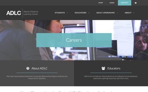 Screenshot of Jobs Page adlc.ca - Careers | Alberta Distance Learning Centre | ADLC - captured Feb. 5, 2016
