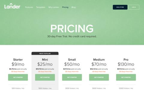 Screenshot of Pricing Page landerapp.com - Lander Pricing: 30-day Free Trial. Create unlimited landing pages - captured Sept. 18, 2014