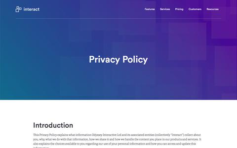 Screenshot of Privacy Page interact-intranet.com - Privacy Policy | Interact software - captured March 4, 2018
