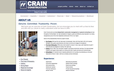 Screenshot of About Page crainconstructioninc.com - About Us | Crain Construction Company, Inc - captured Sept. 30, 2014