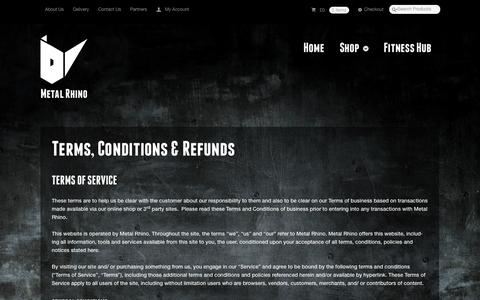 Screenshot of Terms Page metalrhino.com - Terms, Conditions & Refunds | Metal Rhino - captured Oct. 27, 2014