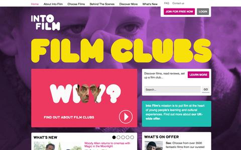 Screenshot of Home Page filmclub.org - FILMCLUB - Home - captured Sept. 23, 2014