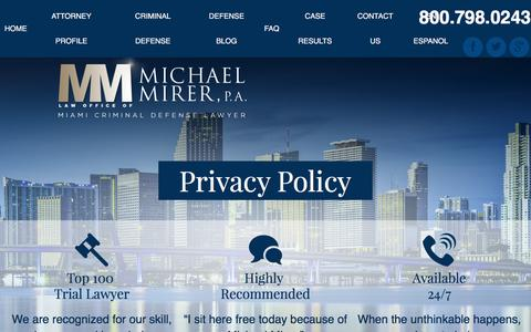 Screenshot of Privacy Page mirerlaw.com - Miami Criminal Defense Attorney | Privacy Policy - captured Jan. 26, 2016