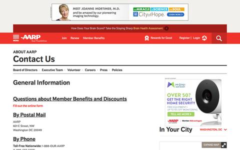 Screenshot of Contact Page aarp.org - AARP Contact Information – Contact Us by Phone, Mail or E-Mail – Media & Business Contact Information - AARP - captured July 15, 2017