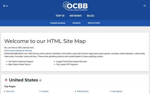 Screenshot of Site Map Page onlinecasinobluebook.com - HTML SiteMap - OnlineCasinoBluebook.com | Online Casino Bluebook - captured Nov. 8, 2019