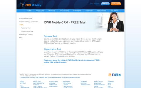 Screenshot of Trial Page cwrmobility.com - FREE TRIAL CWR Mobile CRM for Dynamics CRM 2011 4 3 Online - CWR Mobility. Mobile CRM for Microsoft Dynamics 2011 and 2013 - captured July 19, 2014