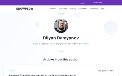 Screenshot of Blog snowplowanalytics.com - Blog – Dilyan Damyanov - captured Feb. 10, 2020