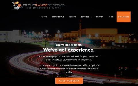 Screenshot of Home Page frontrangesystems.com - Front Range Systems - Home - captured Aug. 4, 2016