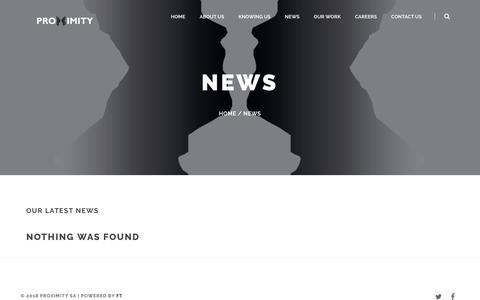 Screenshot of Press Page proximity-cm.com - News – Proximity S.A. - captured Sept. 30, 2018