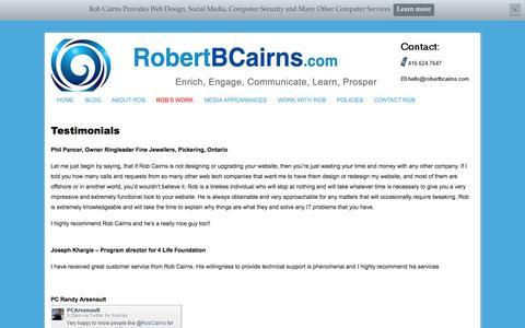 Screenshot of Testimonials Page robertbcairns.com - Testimonials - captured Oct. 7, 2014