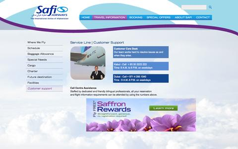 Screenshot of Support Page safiairways.com - Customer support - captured Sept. 23, 2014