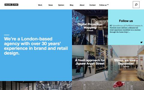 Screenshot of Home Page dalziel-pow.com - Dalziel and Pow - A London-based agency with over 30 years' experience in brand and retail design. - captured Oct. 5, 2014