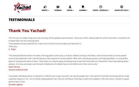 Screenshot of Testimonials Page yachadkollel.com - Testimonials – Yachad Kollel & Outreach Center - captured Nov. 10, 2018