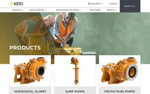 Screenshot of Products Page ketopumps.com - KETO Products | KETO Pumps - captured Oct. 16, 2017