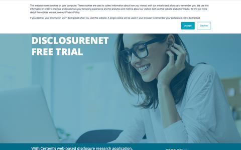 Screenshot of Trial Page certent.com - DR Trial   DisclosureNet Free Trial Website - captured June 28, 2019