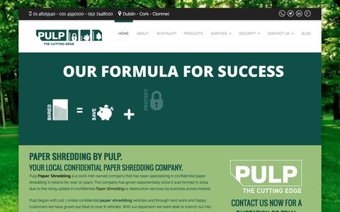 Screenshot of Home Page pulp.ie - Paper Shredding | Confidential Paper Shredding | Shredding - captured Feb. 2, 2016